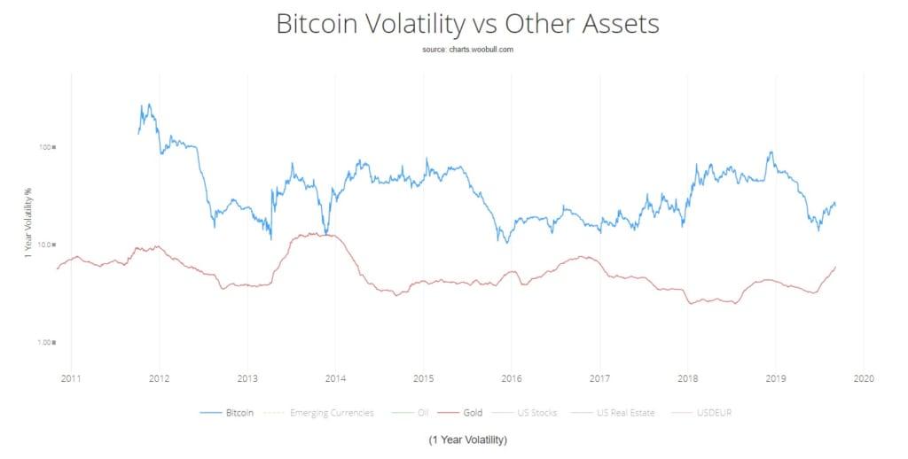 ビットコインと他の資産のボラティリティ比較