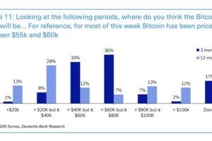ビットコインは1年で6万ドル以下、投資家の半数が予想:ドイツ銀調査